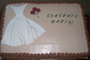 A bridal shower cake.  Marble cake with light chocolate buttercream.